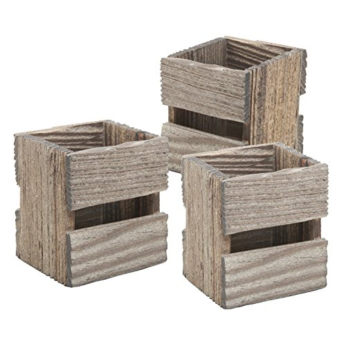 MyGift Set of 3 Crate Design Pen & Pencil Holders, Wood Office Desk Storage Boxes by MyGift (Image #1)