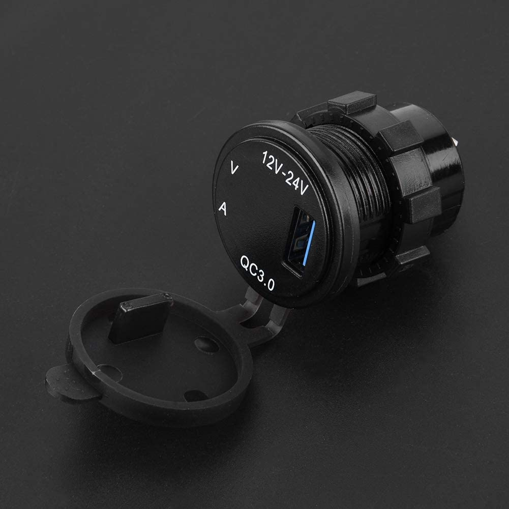 QC 3.0USB Charger Adapter Socket Power Outlet Digital Voltmeter Ammeter Monitoring for Car Marine Boat Motorcycle Caravan Truck Acouto Car Charger