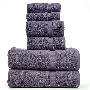 Luxury Hotel & Spa Towel 100% Genuine Turkish Cotton Bath Towel Bundle (Plum, 6-Piece Towel Set)