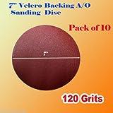 Pack of 10x 7'' 120 Grit Sanding Disc Paper Hook and Loop Backing Sander Abrasive Sandpaper Peel Air Sander Orbit