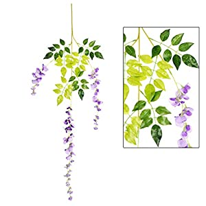 Marcherry Artificial Flowers 12 Pack 3.6 Feet Rattan Strip Artificial Fake Wisteria Vine for Home Kids Room Garden Hotel Office Wedding Decor Wall Crafts Art Party Decoration (Purple) 2