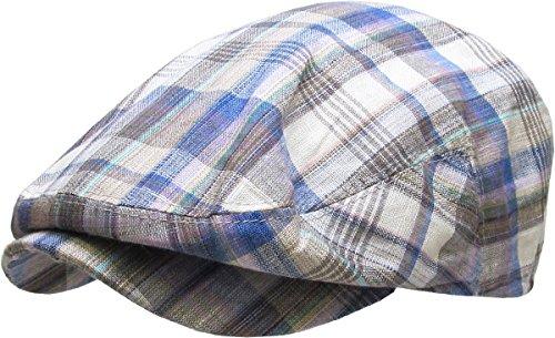 Linen Plaid Cap (KBM-214 IVO MIX L/XL Plaid Newsboy Ivy Hats Gatsby Ascot Cabbie Spring Summer Cap)