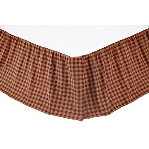 VHC Brands Check 16-inch Drop Bed Skirt Burgundy Queen