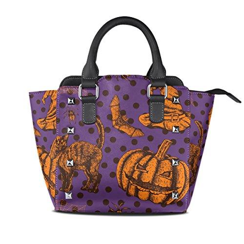 Bolsos De Halloween Murciélago La La Hombro Bolsas De Del Calabaza Totalizador De De De Gato Tizorax Mujer Cuero 5qEdwE
