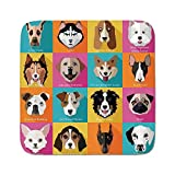 Cozy Seat Protector Pads Cushion Area Rug,Kids,Pattern with Dogs Retro Popart Style Bulldog Hound Cartoon Print Art for Dog Lovers,Pink Blue Yellow,Easy to Use on Any Surface