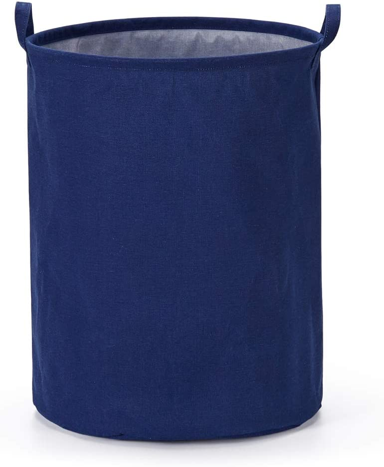"""Every Deco Cylinder Round Single Fabric Plastic Frame Laundry Basket Hamper Storage Bin Organization Collapsible Foldable Toys Clothes - 19.7"""" H/Large - Navy Blue"""