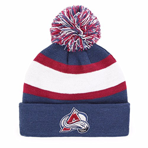 New Colorado Avalanche Nhl Cap (NHL Colorado Avalanche Rush Down OTS Cuff Knit Cap with Pom, Timber Blue, One Size)