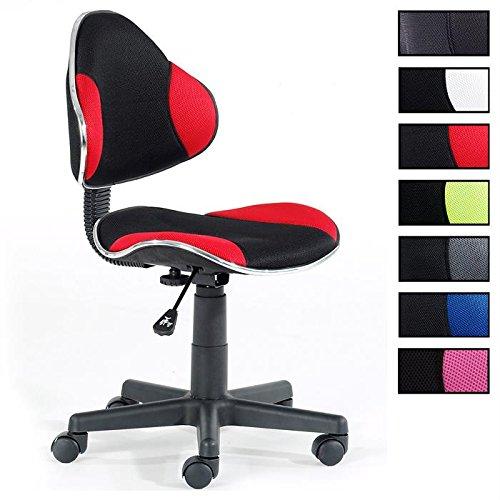IDIMEX Fauteuil chaise de bureau enfant ALONDRA hauteur réglable revêtement tissu noir et rouge