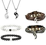 Jstyle Yin Yang Couples Necklace Bracelets for Women Mens Distance Leather Beaded Bracelet Adjustable 3Sets
