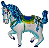 SPACE PET 35'' CIRCUS CAROUSEL HORSE BALLOON (BLUE) - Amazing New HOVERING ANTI-GRAVITY TOY - Free Floating, Flying Pony Carnival Farm Animal Kingdom Cowboy Birthday Party Favor