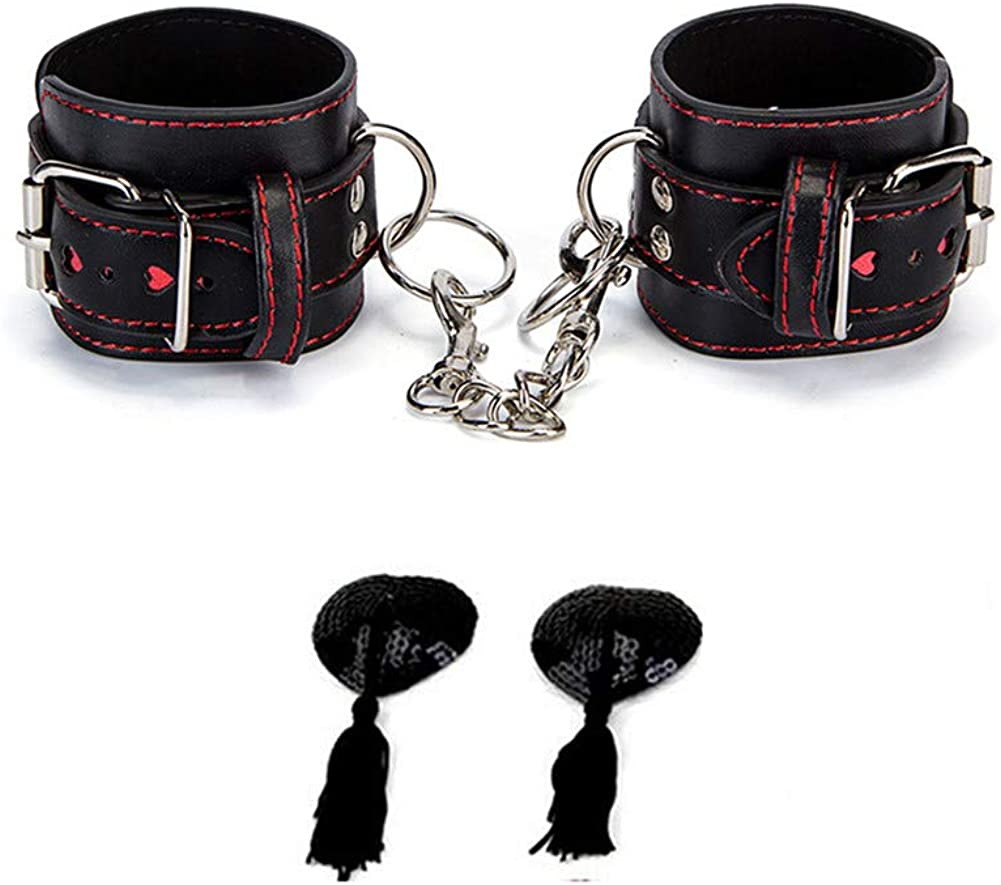 Tcouplesexy fun newness type Wrist Cuffs and Metal chain for sex Nīpple Clip black