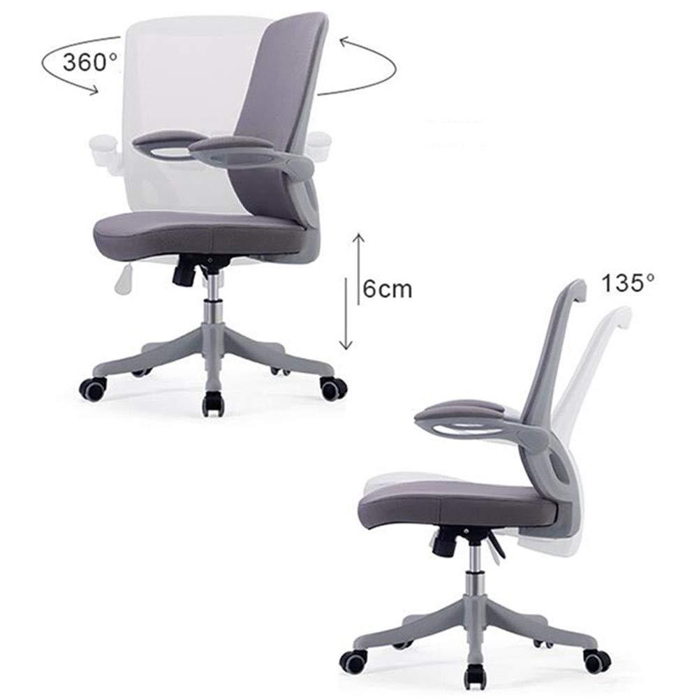 DALL kontorsstol 135 ° lutningsfunktion ergonomisk svängbar datorstolar roterande räcke justerbar höjd konferensstol montering (färg: Blå) Grått