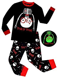 Boys Pajamas Glow in The Dark Halloween Skeleton Children Sleepwear Toddler Kids Pants Set