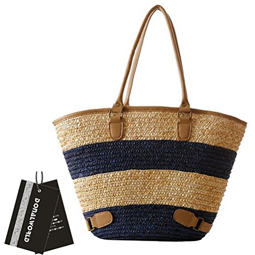 Donalworld Women Stipes Large Capacity Woven Handmade Crochet Beach Tote Handbags Blue