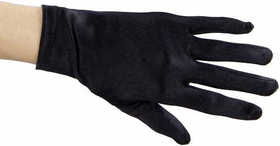 Adult Size Short Blue Gloves Stretch Polyester Gloves