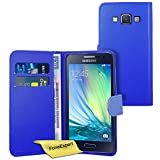 Galaxy A5 Case, FoneExpert® Premium Leather Flip Book Wallet Case Cover For Samsung Galaxy A5 + Screen Protector & Cloth (Blue)
