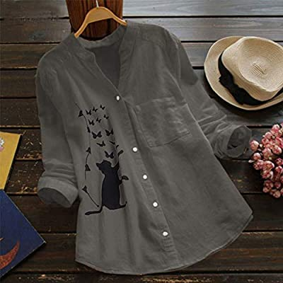Women Cotton Linen Shirt,Womens Casual Pullovers V-Neck Printed Cat 3/4 Sleeve Tunics Irregular Vintage Blouse to: Clothing