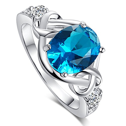 Psiroy 925 Sterling Silver Created Blue Topaz Filled Twisted Knot Band Engagement Ring (Charm Ring Solitaire)