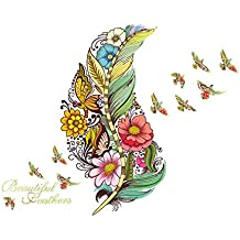 Colorful Feathers Butterfly Flower Wall Sticker Mural Decals Kids Bedroom Decors