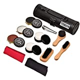 Shoe Shine Brush Kit Shoe Care Kit with PU Leather Sleek Elegant Case (SMALL, BLACK)