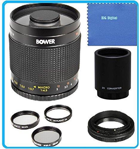 Bower 500mm f/8 Telephoto Mirror Lens + 2x Teleconverter = 1000mm for Sony Alpha Series SLT-A33, SLT-A35, SLT-A37, SLT-A55, A57, SLT-A57, SLT-A57M, SLT-A57K, A58, SLT-A58, SLT-A58K, A65, SLT-A65V, SLT-A65VL, A77, SLT-A77, A77II, A99, SLT-A99V, A100, A200, A230, A290, A300, A330, A350, A380, A390, A450, A500, A560, A550, A580, A700, A850, A900 Digital SLR Camera