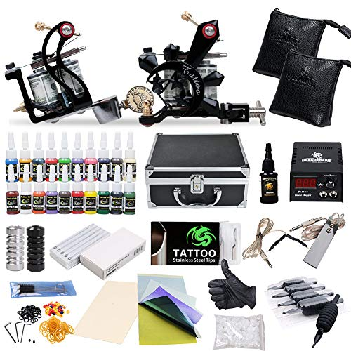 (Complete Tattoo Starter Kit 2 Guns Supply Set Equipment D10-24)