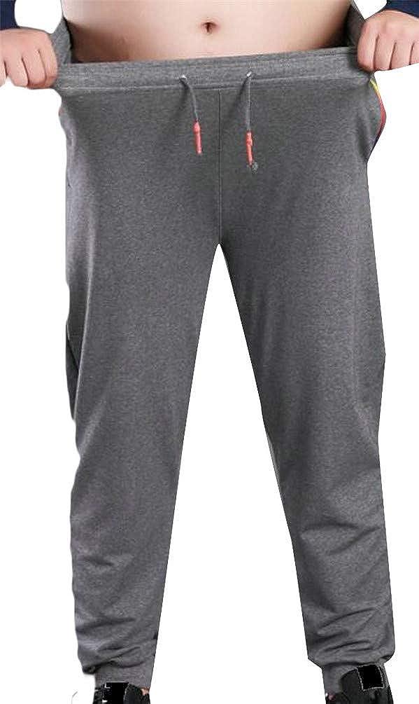 Hajotrawa Men Thicken Drawstring Plus Size Running Fleece Elastic Waist Jogger Pants