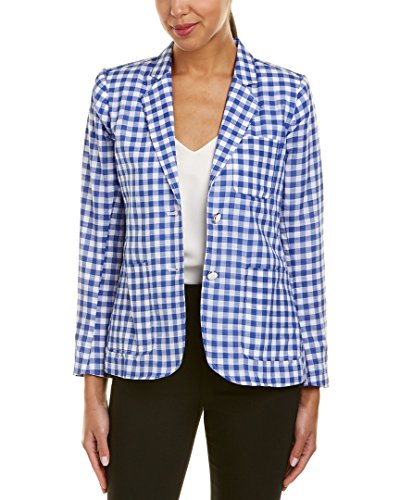 Foxcroft Women's Long Sleeve Demi Gingham Blazer, Blue Lagoon, 8 ()