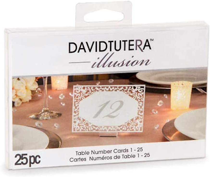 David Tutera Illusion Die Cut Lace Paper Table Number Cards - 25 Pieces