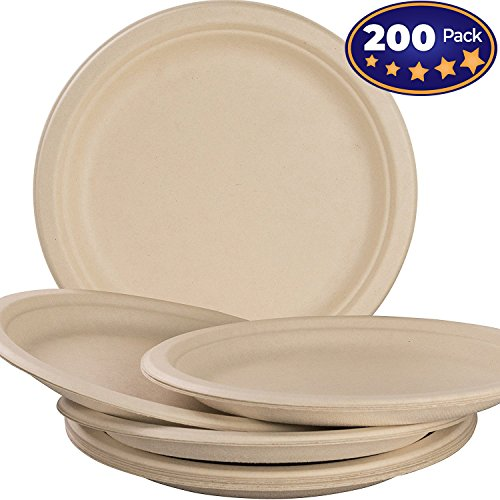 Biodegradable, Plant-Based, Tree Free, Disposable 9 Inch Plates 200 Pack. Sturdy, Gluten Free Wheatstraw Fiber is Certified Compostable, Eco-Friendly, Microwavable and Safe for Hot and Cold Foods