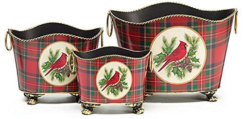 Tin Tartan Plaid Cardinal Nested Christmas Planters Set of 3