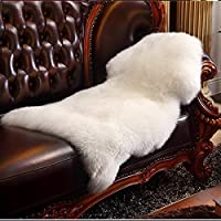 HLZHOU Faux Fur Soft Fluffy Single Sheepskin Style Rug Chair Cover Seat Pad Shaggy Area Rugs For Bedroom Sofa Floor (2x3 Feet, White)