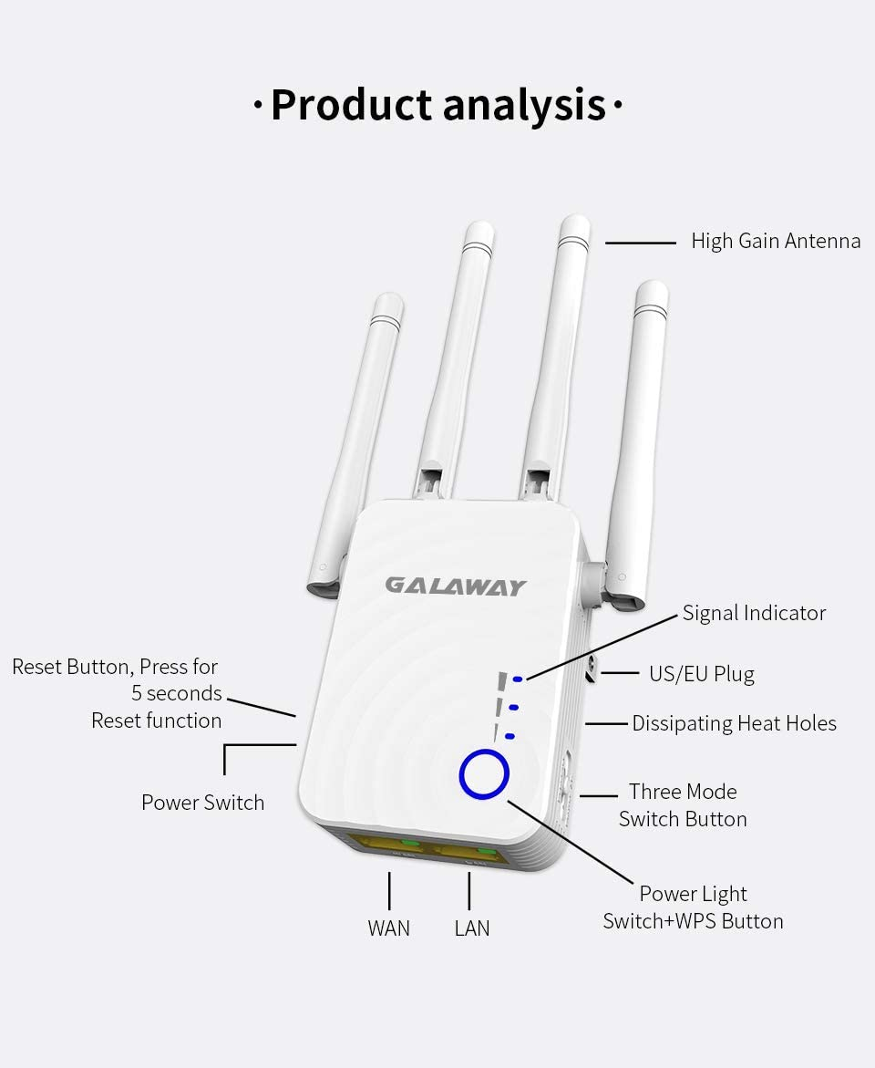 WiFi Booster with Ethernet Ports Broadband//WiFi Extender Smart Signal Indicator G0185 AC1200 Universal Dual Band Range Extender