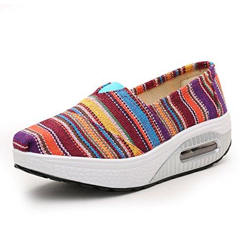 LZ-5122meihongtiaowen35 EnllerviiD Women Platform Slip On Stripe Canvas Sneakers Comfort Fitness Work Out Walking Shoes Rose/Stripe 5 B(M) US yr1ZiJ