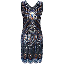 PrettyGuide Women's 1920s Glam Sequin Peacock Inspired Gatsby Flapper Dress L Blue