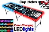 8-Foot Beer Pong Table w/ Cup Holes & LED Glow Lights - Splash Edition