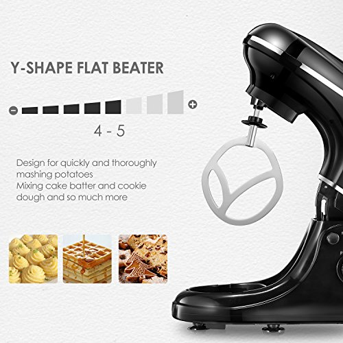 Kealive Stand Mixer, 8 Speed 700 Watt Kithchen Mixer with 5-Quart Stainless Steel Bowl, Dough Hooks, Whisk, Beater, Pouring Shield, Dough Mixer, Black by Kealive (Image #3)