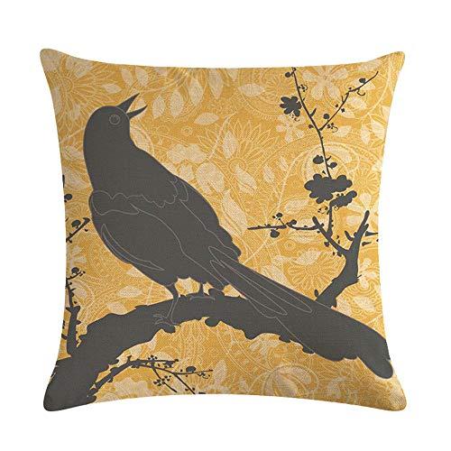 GTQC Shadow Flower and Bird Series Linen Hug Pillowcase Cushion Cover 2 4545cm