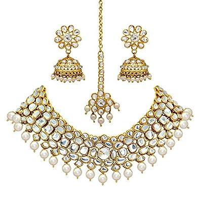 bf56eaec417 Jaipur Mart White Alloy Metal Gold Plated Imitation Pearl and Kundan  Jewellery Set