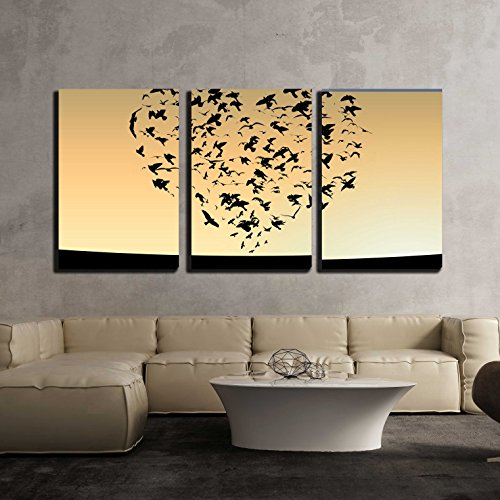 "wall26 - 3 Piece Canvas Wall Art - Illustration of Flight of Birds in The Sky in The Form of Heart - Modern Home Art Stretched and Framed Ready to Hang - 24""x36""x3 Panels"