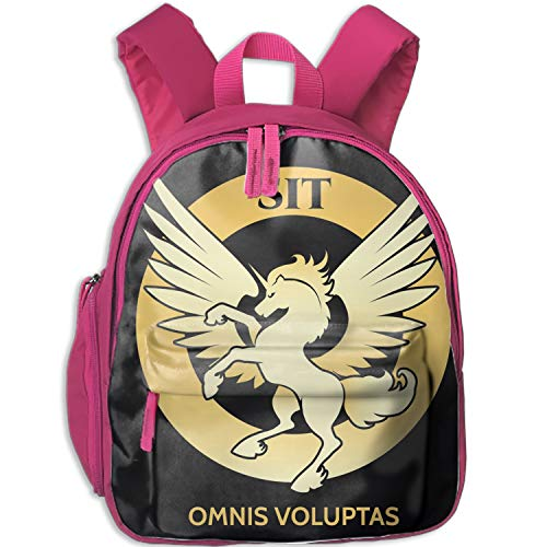 Golden Unicorn Logo Teens Cute Patterns Printed Backpack School Bag Travel Daypack