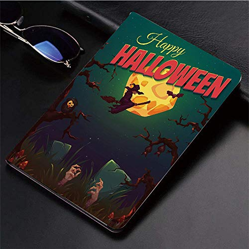 (Compatible with 3D Printed iPad 9.7 Case,Halloween,Happy Halloween Poster Design Witch on Broom Mushro,Lightweight Anti-Scratch Shell Auto Sleep/Wake, Back Protector Cover iPad 9.7