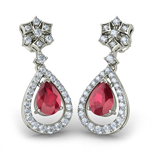 Or blanc 18 K 0,68 ct tw Round-cut-diamond (IJ | SI) et rubis Boucles d'oreille