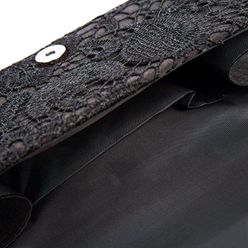 Clutch Black Envelope Elegant Purse Kisschic Evening Lace Prom Floral Women's Handbag qZXHvgxwP