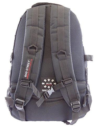NB24 Bag Street Sportlicher Rucksack (4003), schwarz-orange, ca. 45 x 31 x 20 cm, mit 3 großen Reißverschlussfächern, Damen und Herren Tasche, Schultasche, Schulrucksack, Freizeittasche, Sporttasche