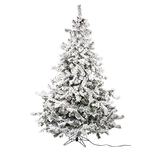 (Diva At Home Set of 2 Pre-Lit Flocked Layered Utica Fir Artificial Christmas Tree - Multi Lights 7.5')