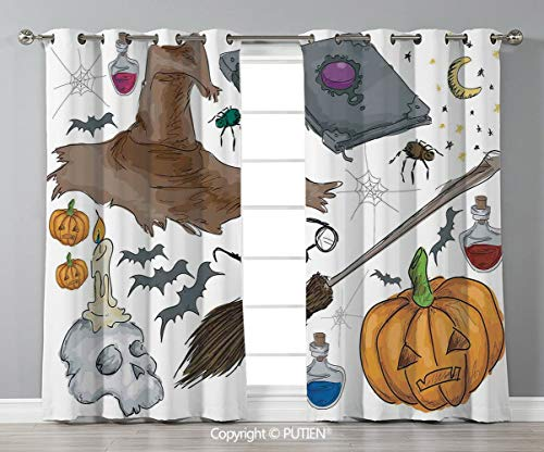 Grommet Blackout Window Curtains Drapes [ Halloween Decorations,Magic Spells Witch Craft Objects Doodle Style Grunge Design Candle Skull,Multi ] for Living Room Bedroom Dorm Room Classroom Kitchen Caf]()