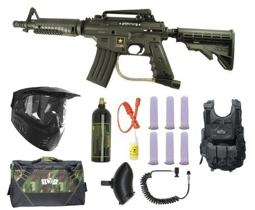 US Army Alpha Black Elite E-Grip Paintball Marker Gun 3Skull Vest Sniper Set