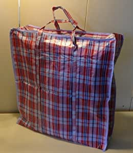 Set Of 4 Extra Large Plastic Checkered Storage Laundry Shopping Bags W.  Zipper U0026