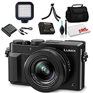 Panasonic Lumix DMC-LX100 Digital Camera (Black) (DMC-LX100K) - Bundle - with LED Video Light + Soft Bag + 12 Inch Flexible Tripod + Cleaning Set